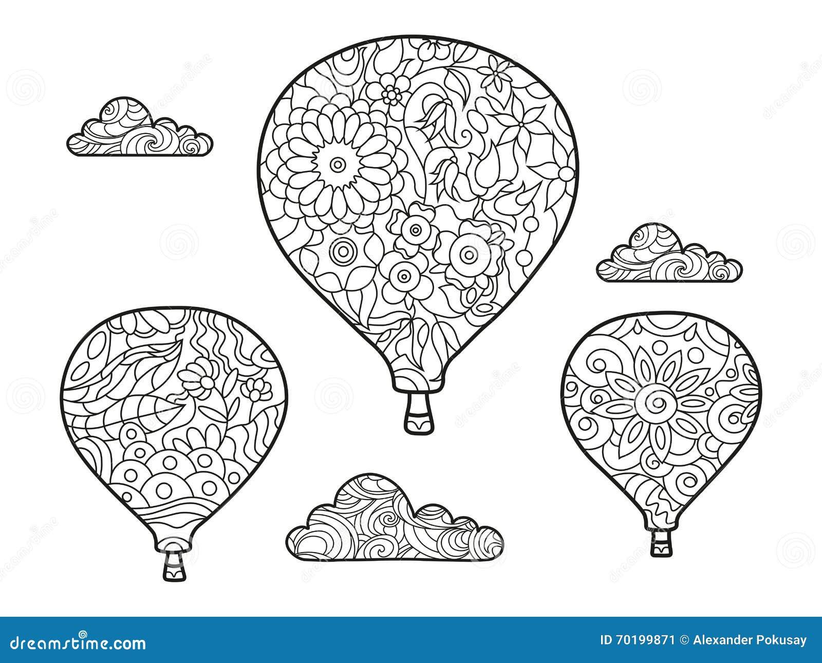 Aeronautisk ballongfärgläggningbok för vuxen människavektor