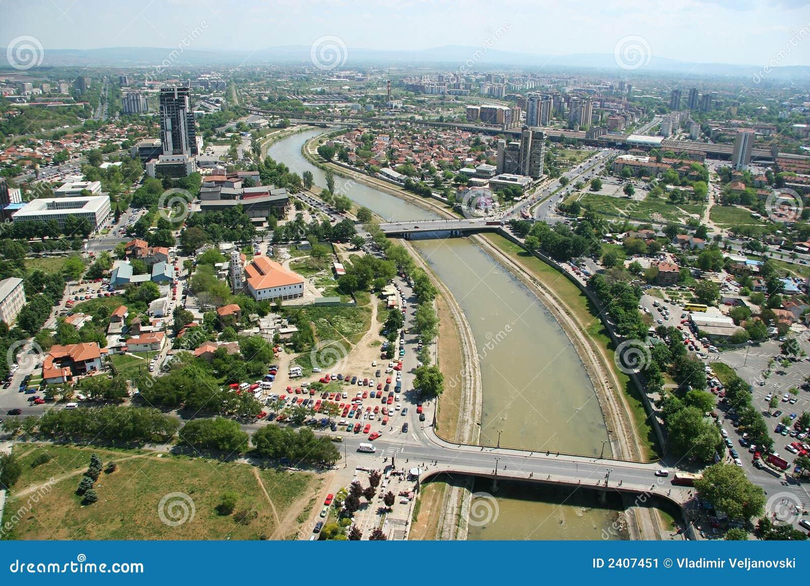 Aerophoto de Skopje Macédoine