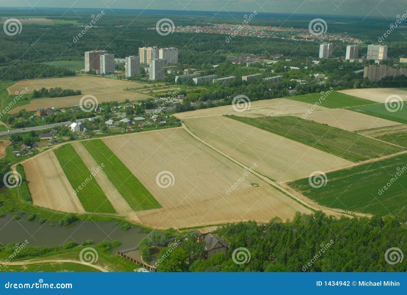 Aerophoto miasta sky mały