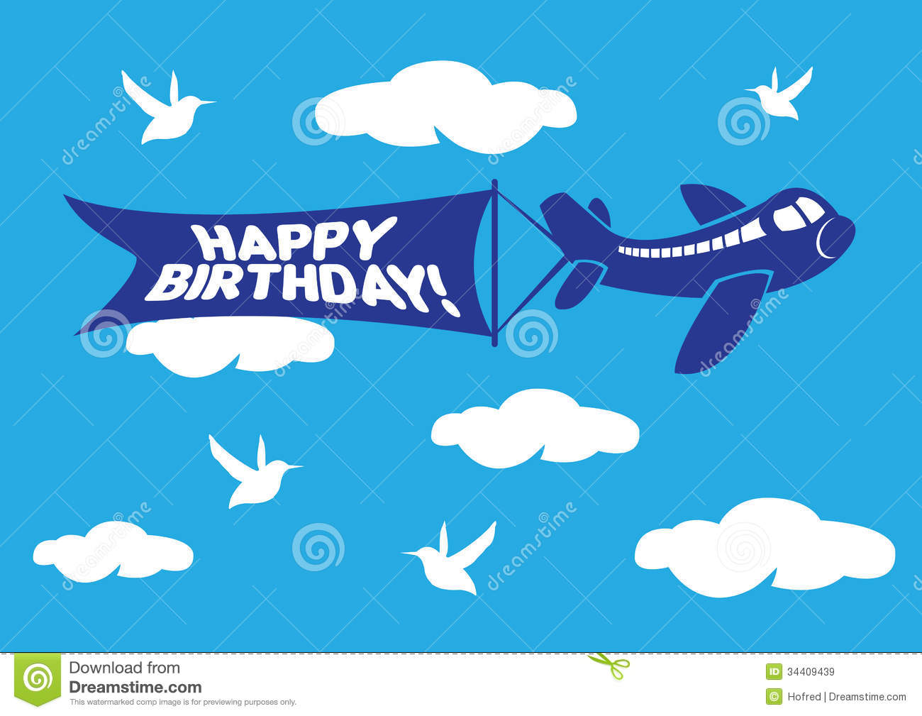 Aeroplane With Birthday Flying Message Banner. Royalty Free Stock ...