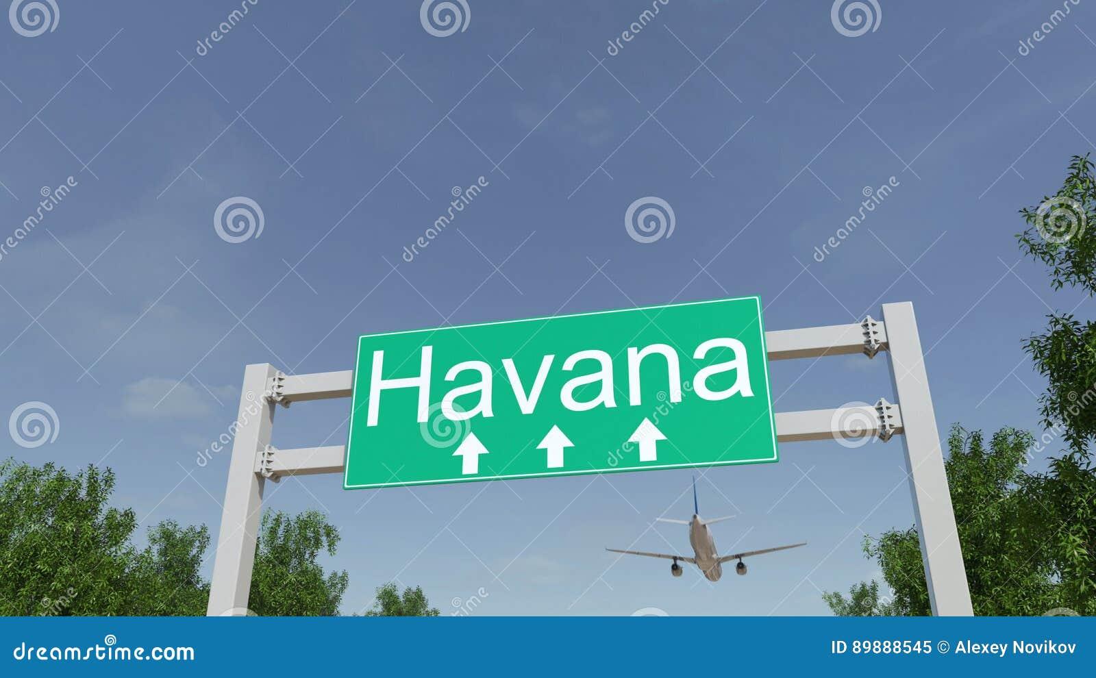 Aeroporto Havana Arrivi : Aeroplano che arriva all aeroporto di avana viaggiando alla