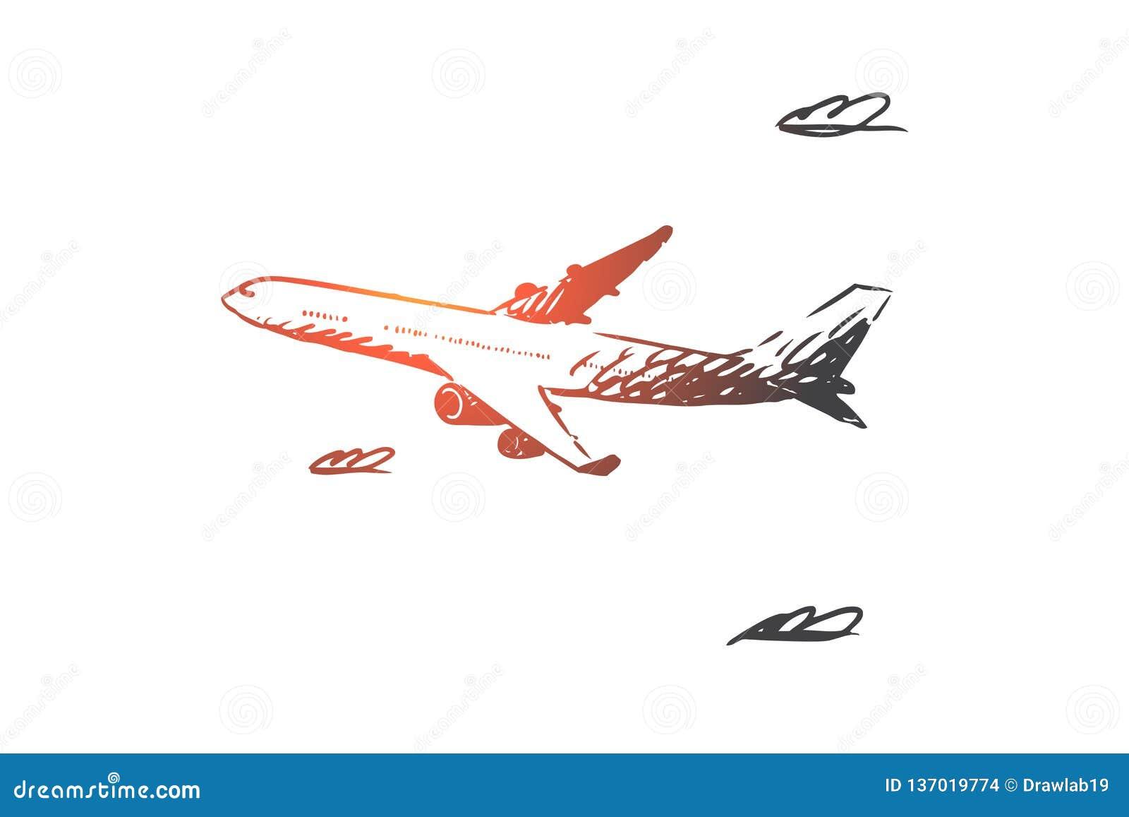 Aeroplano, cielo, vuelo, transporte, concepto del viaje Vector aislado dibujado mano