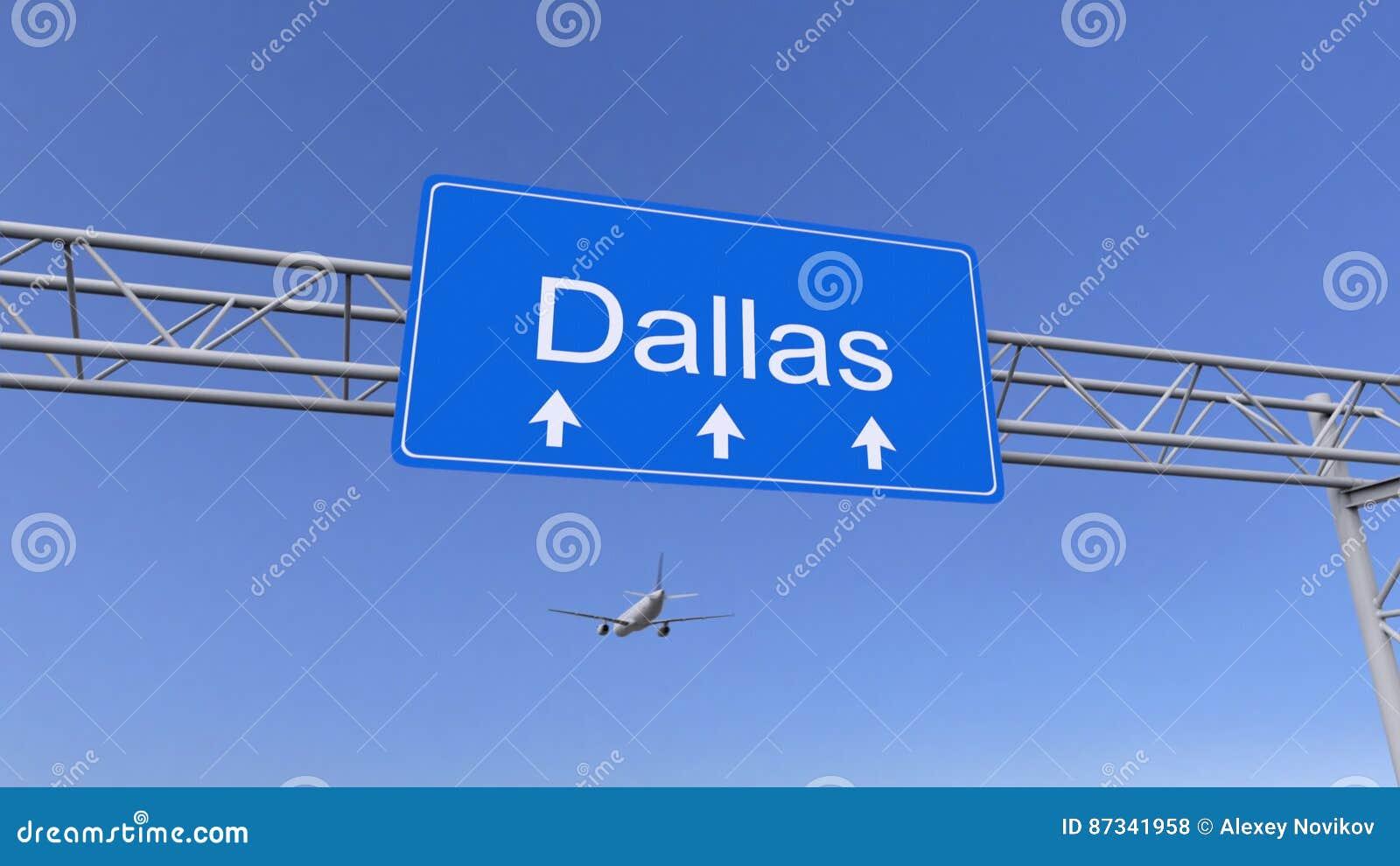 Aeroplano comercial que llega al aeropuerto de Dallas El viajar a la representación conceptual 3D de Estados Unidos