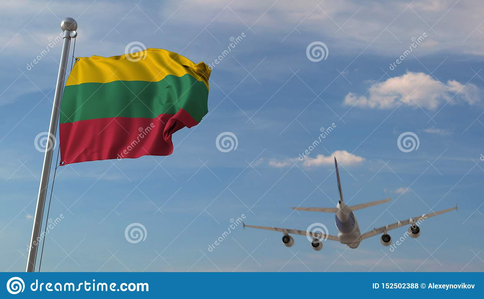 Aeroplano commerciale che sorvola bandiera nazionale della Lituania Il trasporto di aria lituano ha collegato la rappresentazione