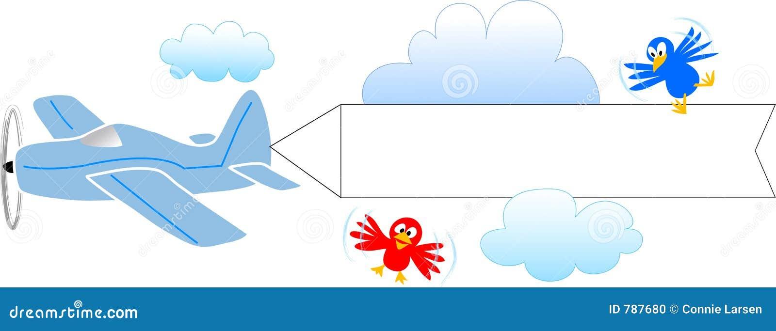 Aeroplano con la bandera en blanco/EPS