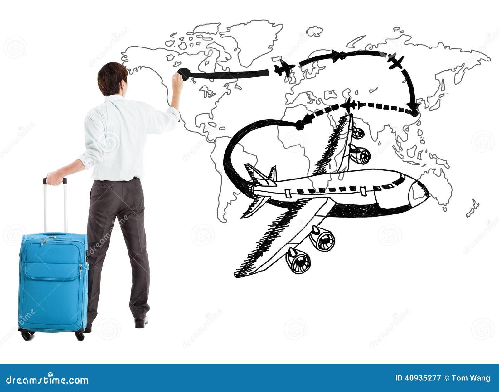 Aeroplano del dibujo del hombre de negocios y trayectoria jovenes de la línea aérea en el mapa