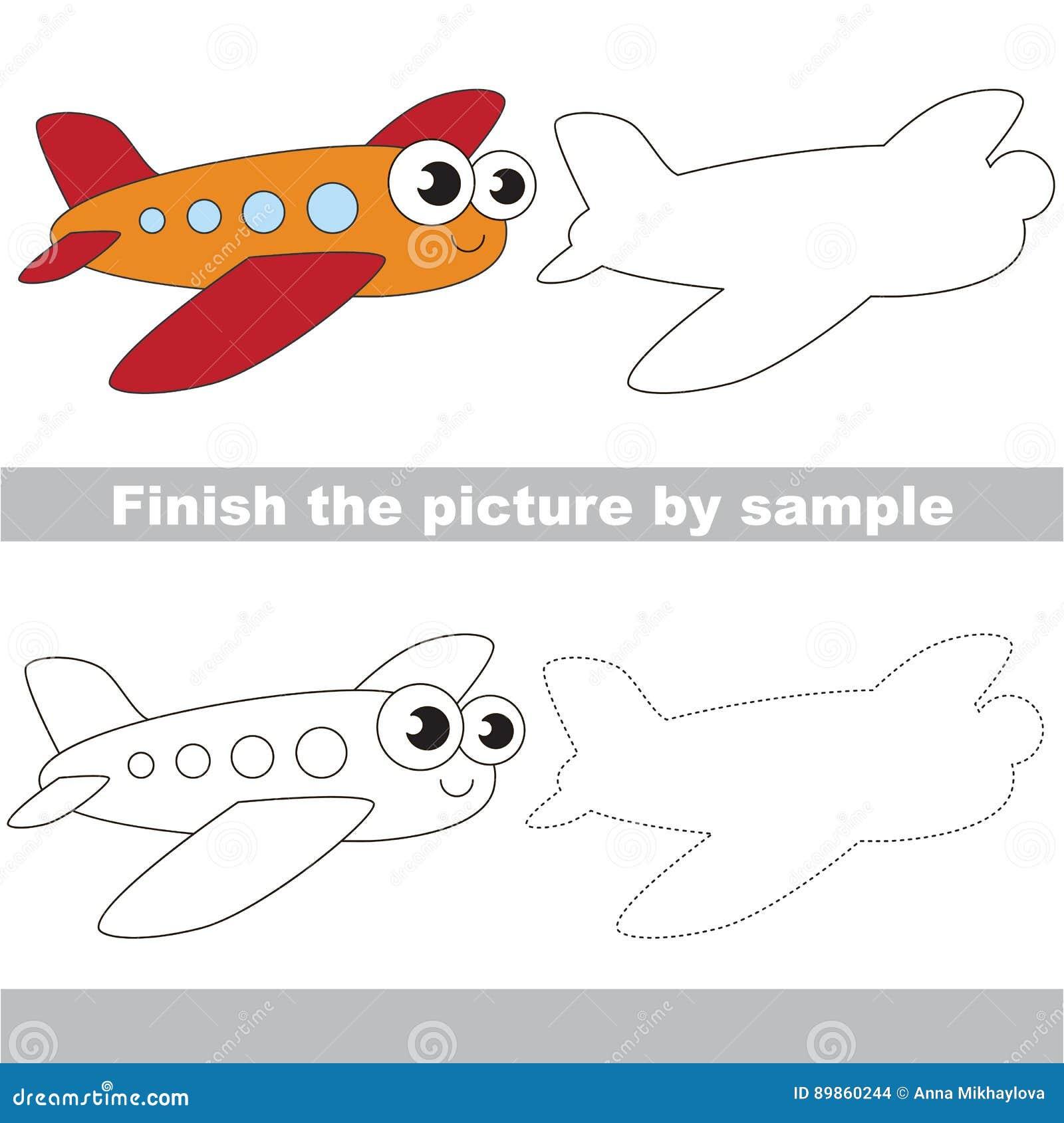 Aeroplano Divertente Foglio Di Lavoro Del Disegno Illustrazione