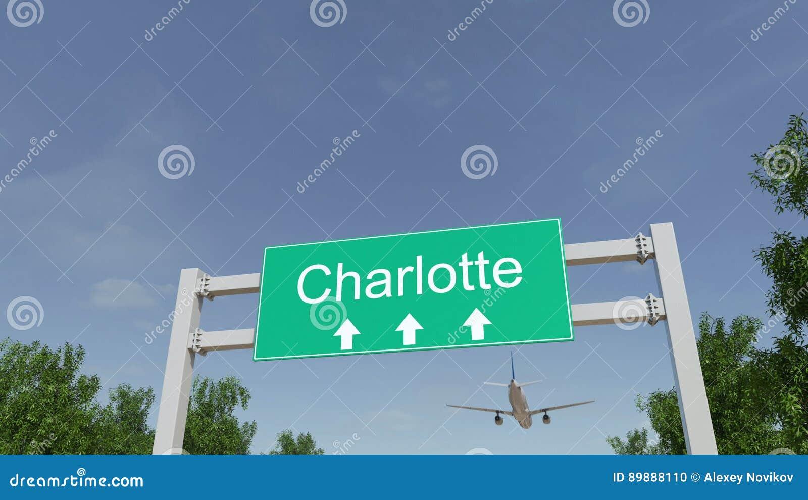 Aeroplano que llega al aeropuerto de Charlotte El viajar a la representación conceptual 3D de Estados Unidos