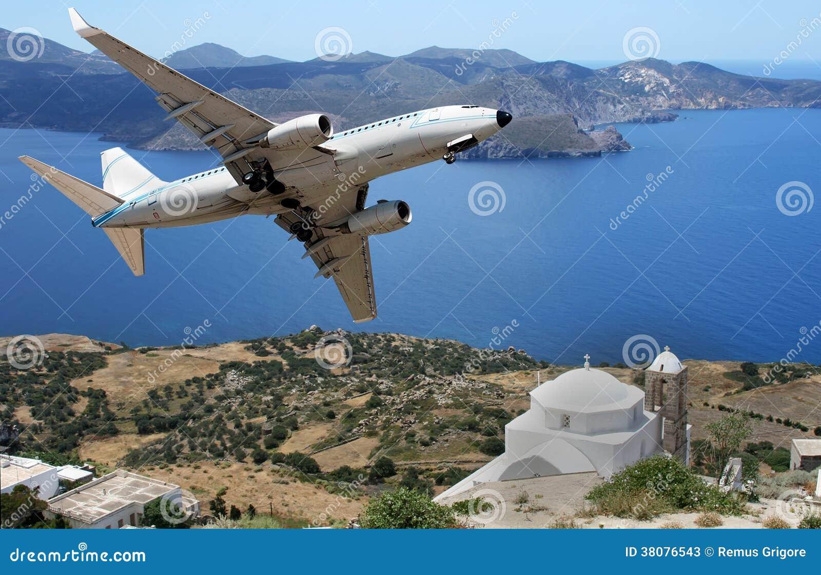 Aeroplano sobre un insland griego
