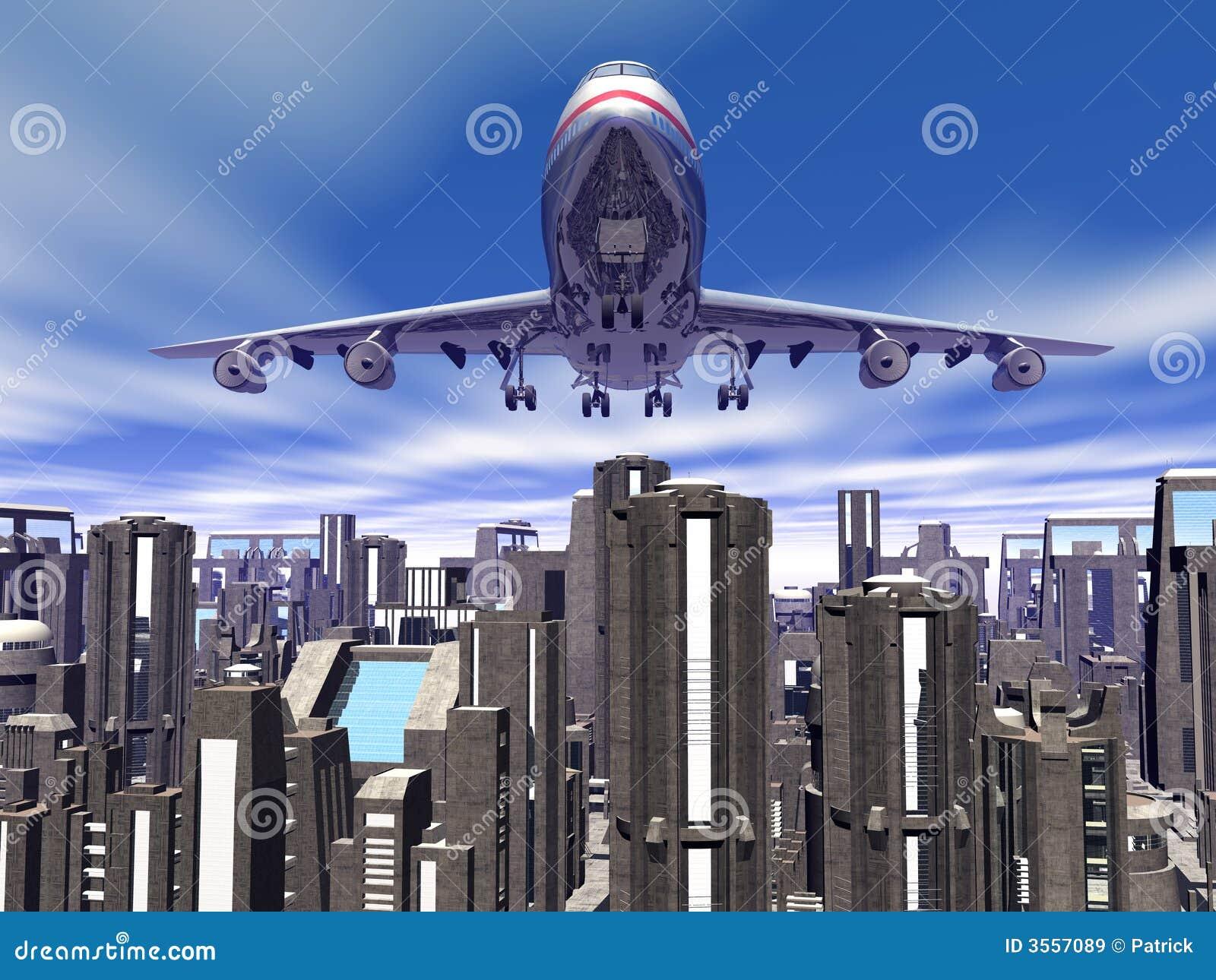 Aeroplano sopra gli isolati