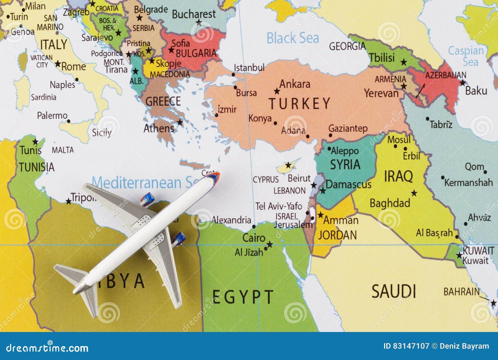 Aeroplano sulla mappa