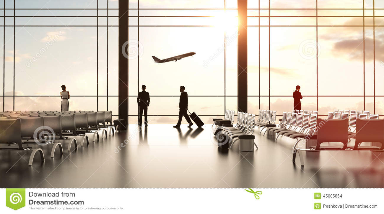 Aeroporto com povos