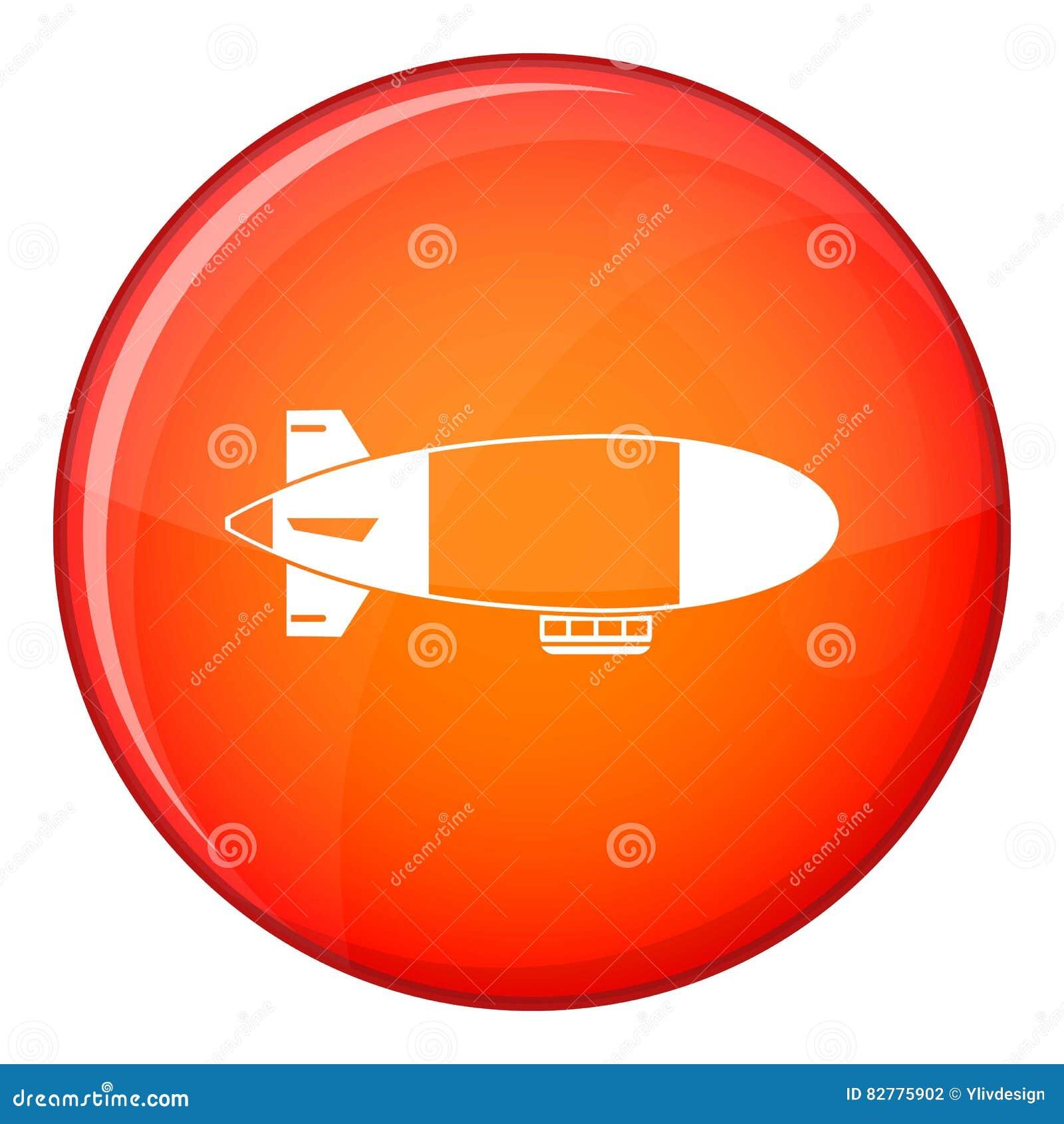 Aerostat Airship Icon, Flat Style Stock Vector - Illustration of