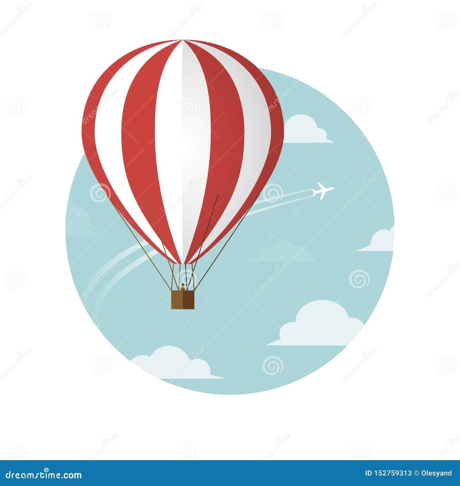 Aerostat i samolot w niebie