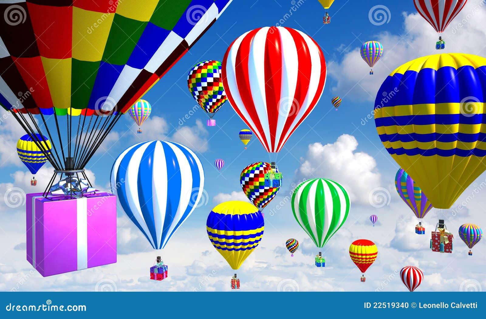 Palloni Ad Aria Calda.Aerostati Ad Aria Calda Nel Cielo Con Il Cestino Regali