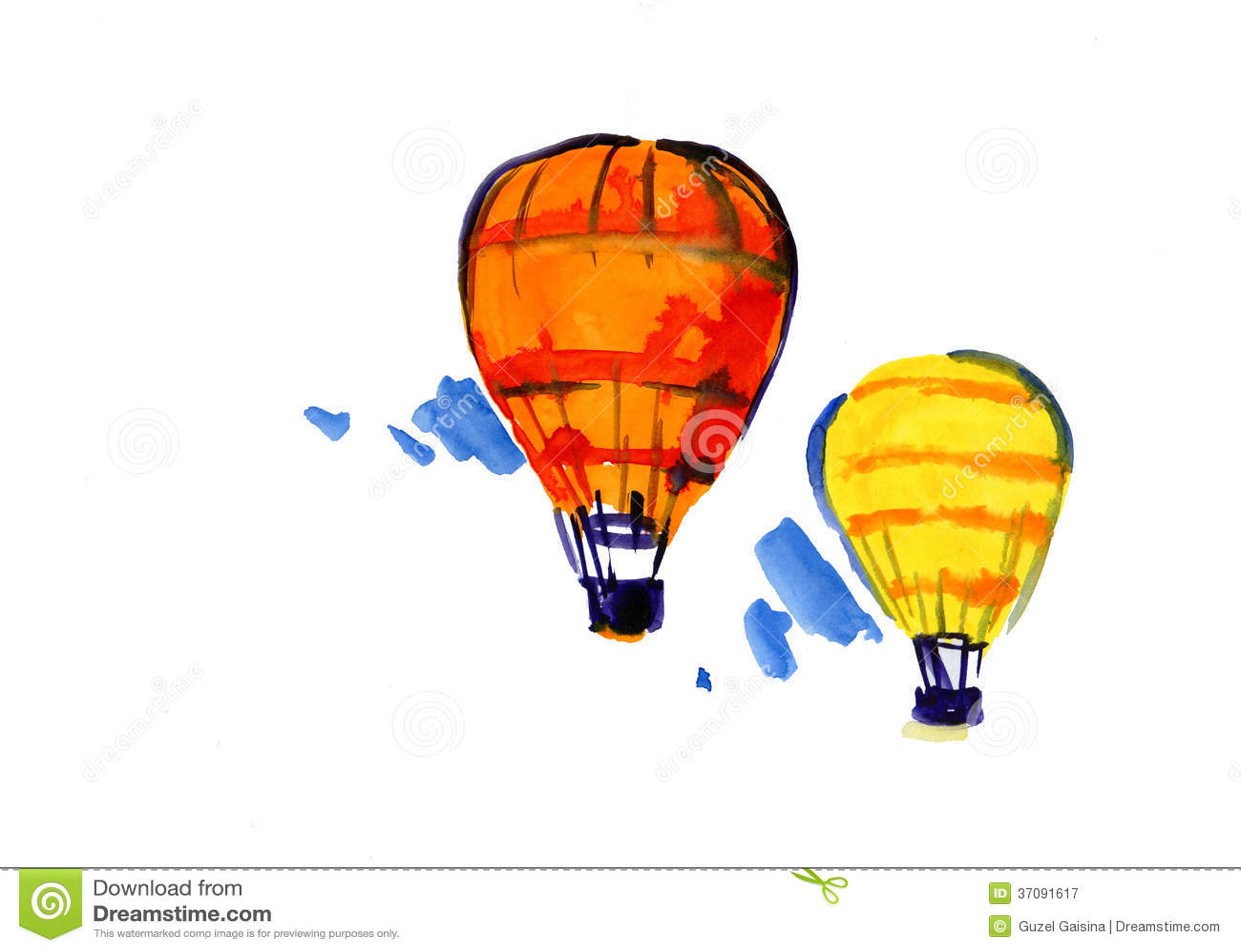 Download Aerostaty lata niebo ilustracji. Ilustracja złożonej z akwarele - 37091617