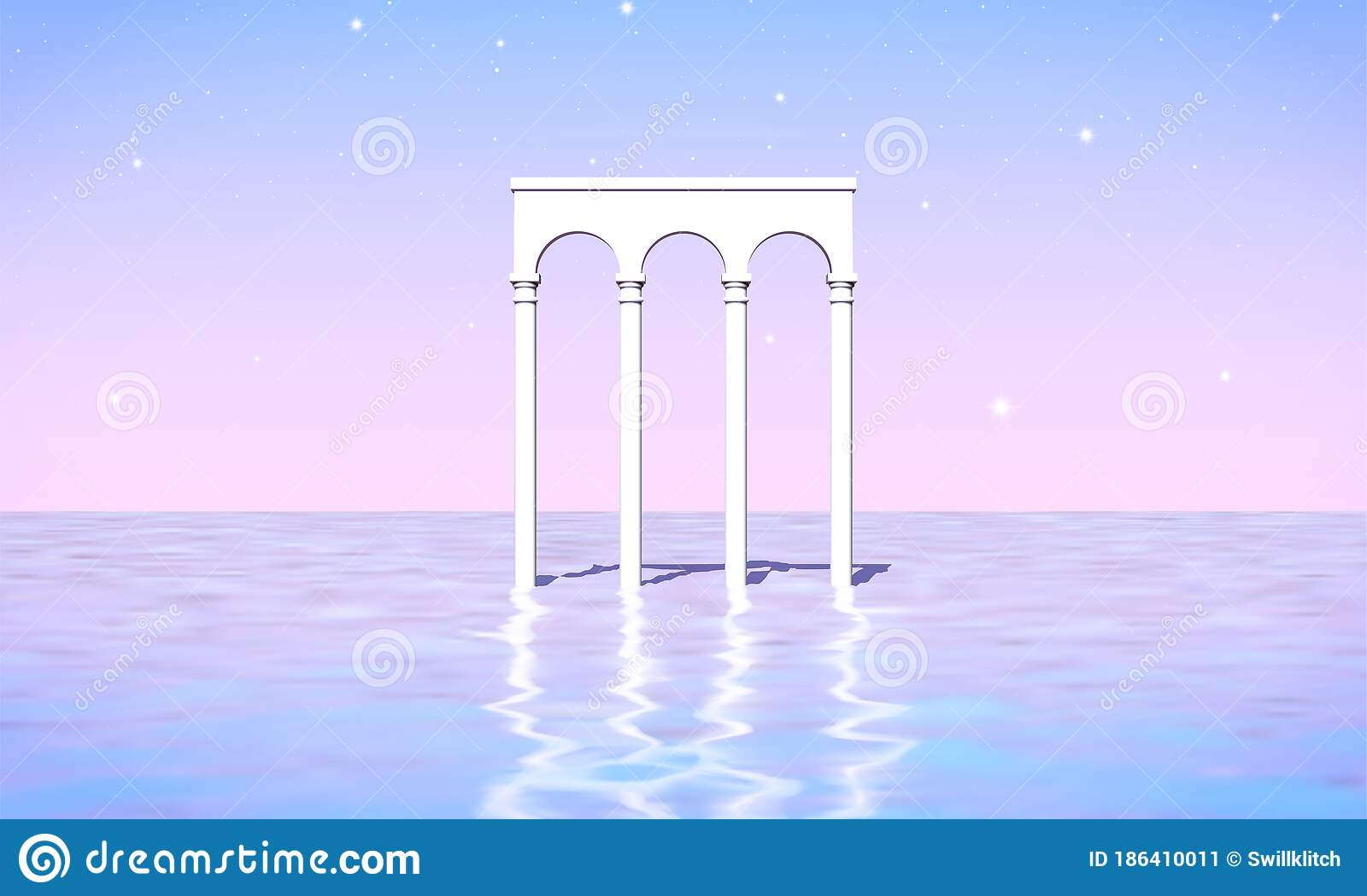 Aesthetic Landscape With Colonnade Of White Pillars In Surreal Sea 90s Or 80s Styled Vaporwave Background With Pastel Stock Vector Illustration Of Beach Gate 186410011
