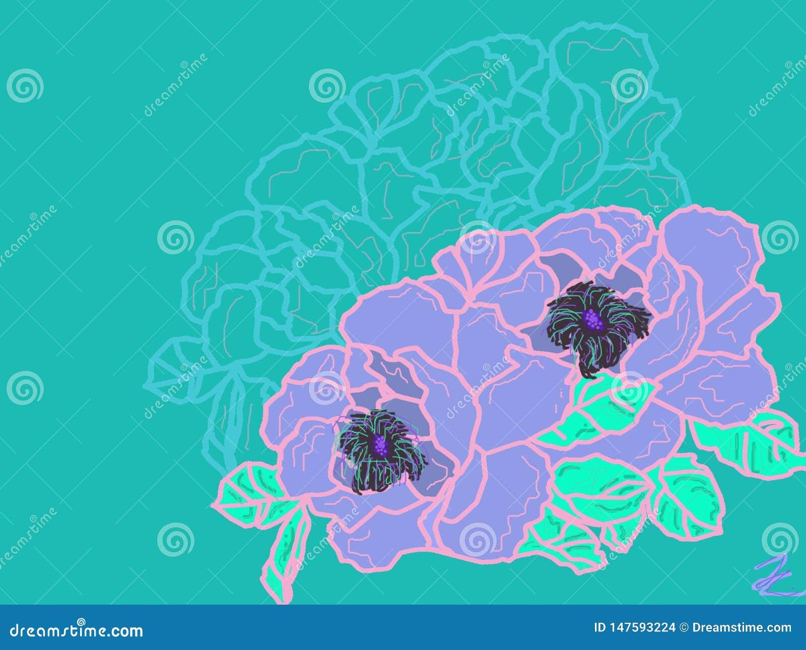 Aesthetic Vaporwave Softly Designed Beautiful Flowers Stock