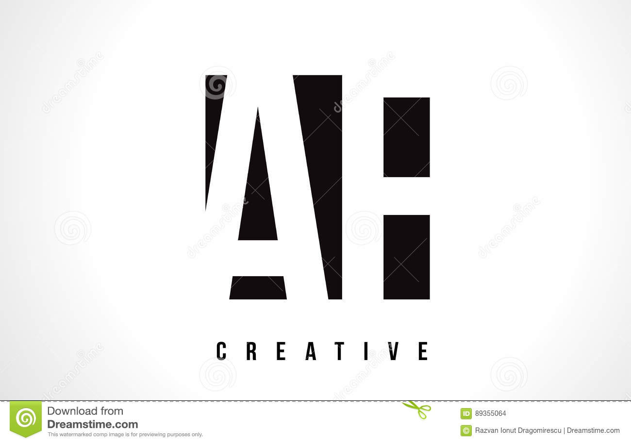 Af A F White Letter Logo Design With Black Square Stock Vector