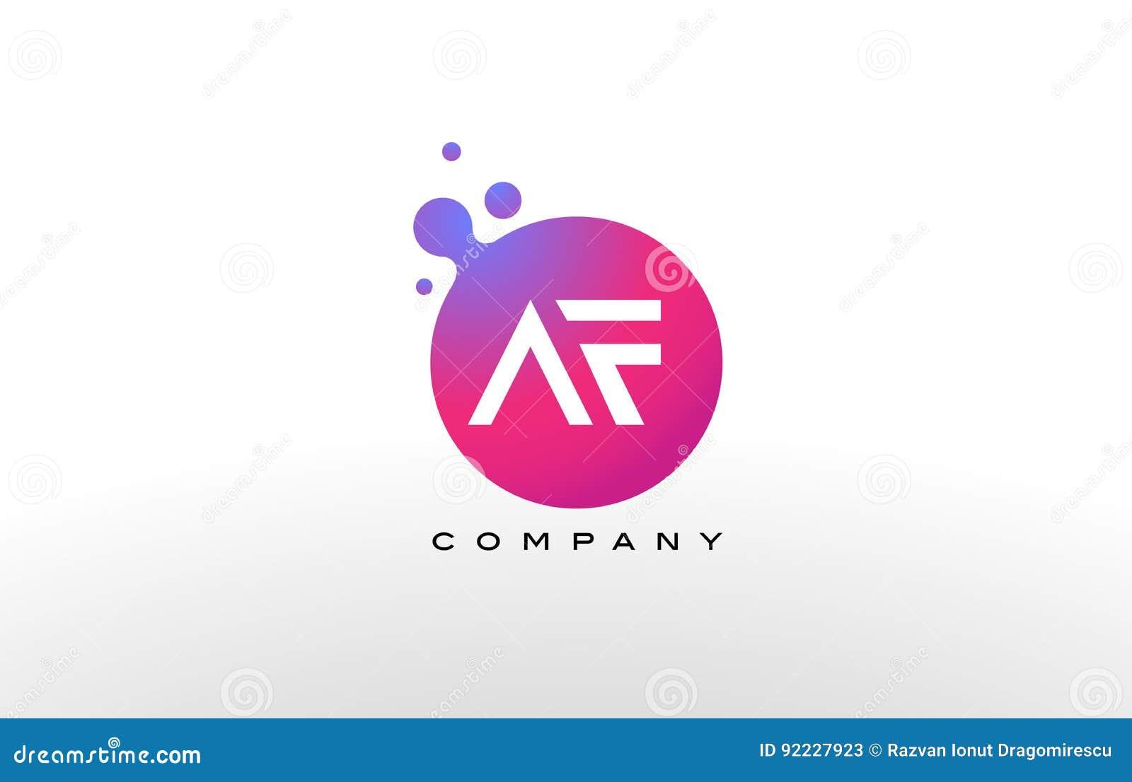 Af Letter Dots Logo Design With Creative Trendy Bubbles