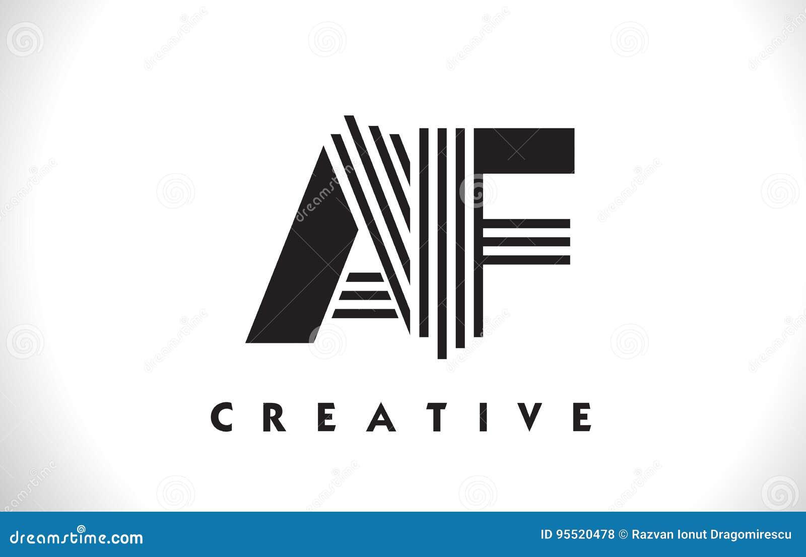 Af Logo Letter With Black Lines Design Line Vector