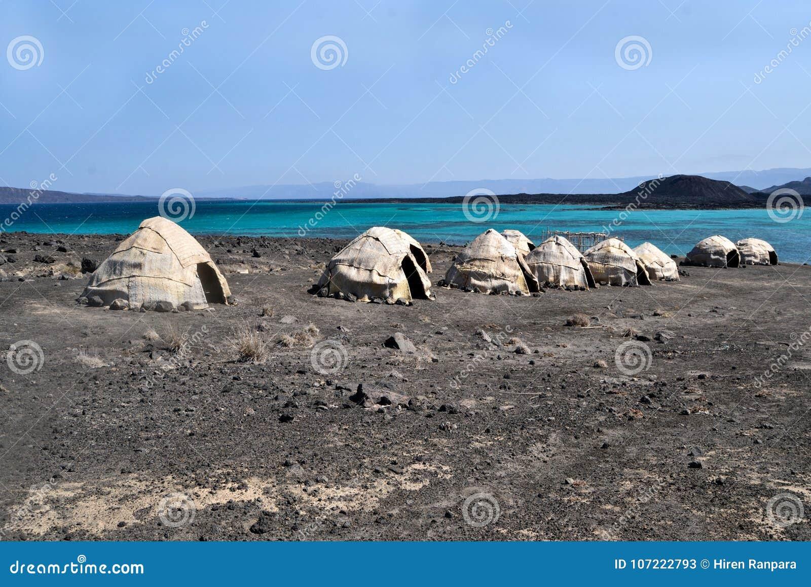 afar tents huts ghoubet beach devils island ghoubbet el kharab