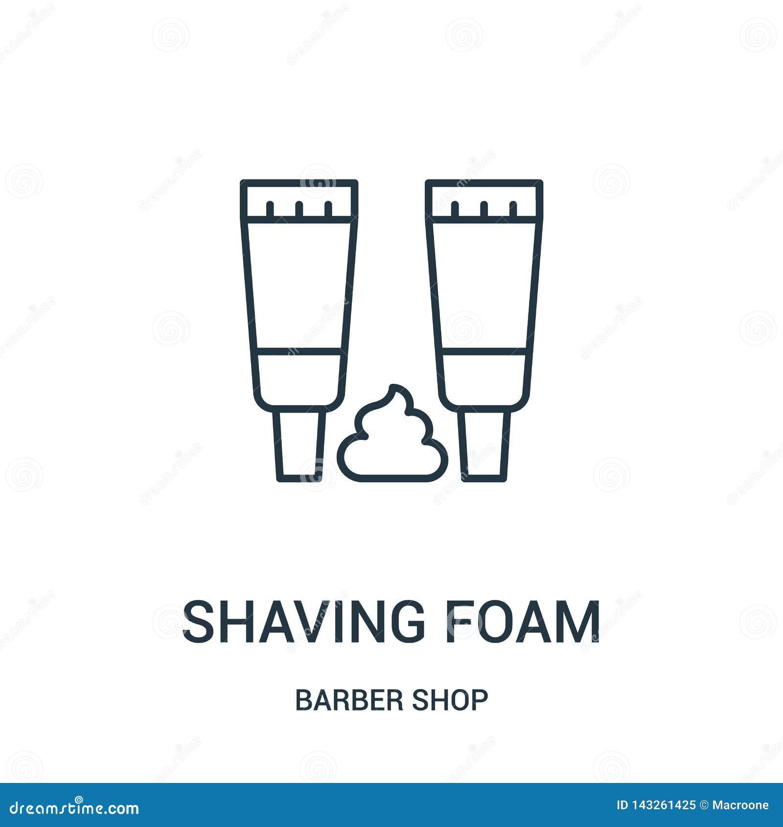 Afeitar vector del icono de la espuma de la colección de la peluquería de caballeros Línea fina que afeita el ejemplo del vector