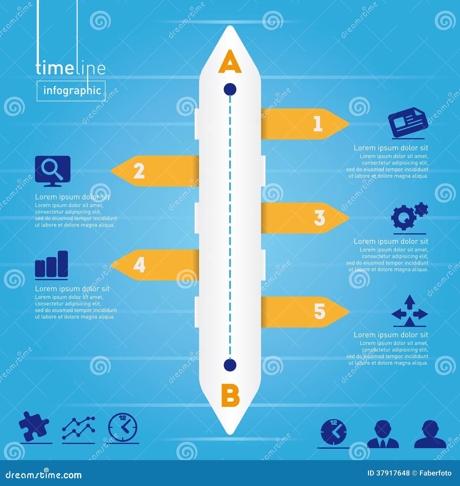 Affär Infographic: Timelinestil, med origina