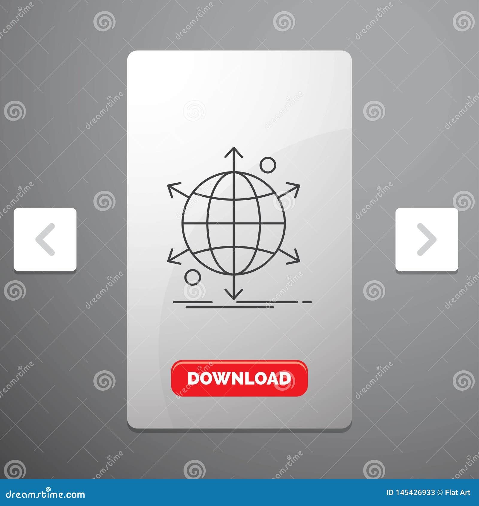 Affär, internationellt, netto, nätverk, rengöringsduklinje symbol i design för Carousalpagineringsglidare & röd nedladdningknapp