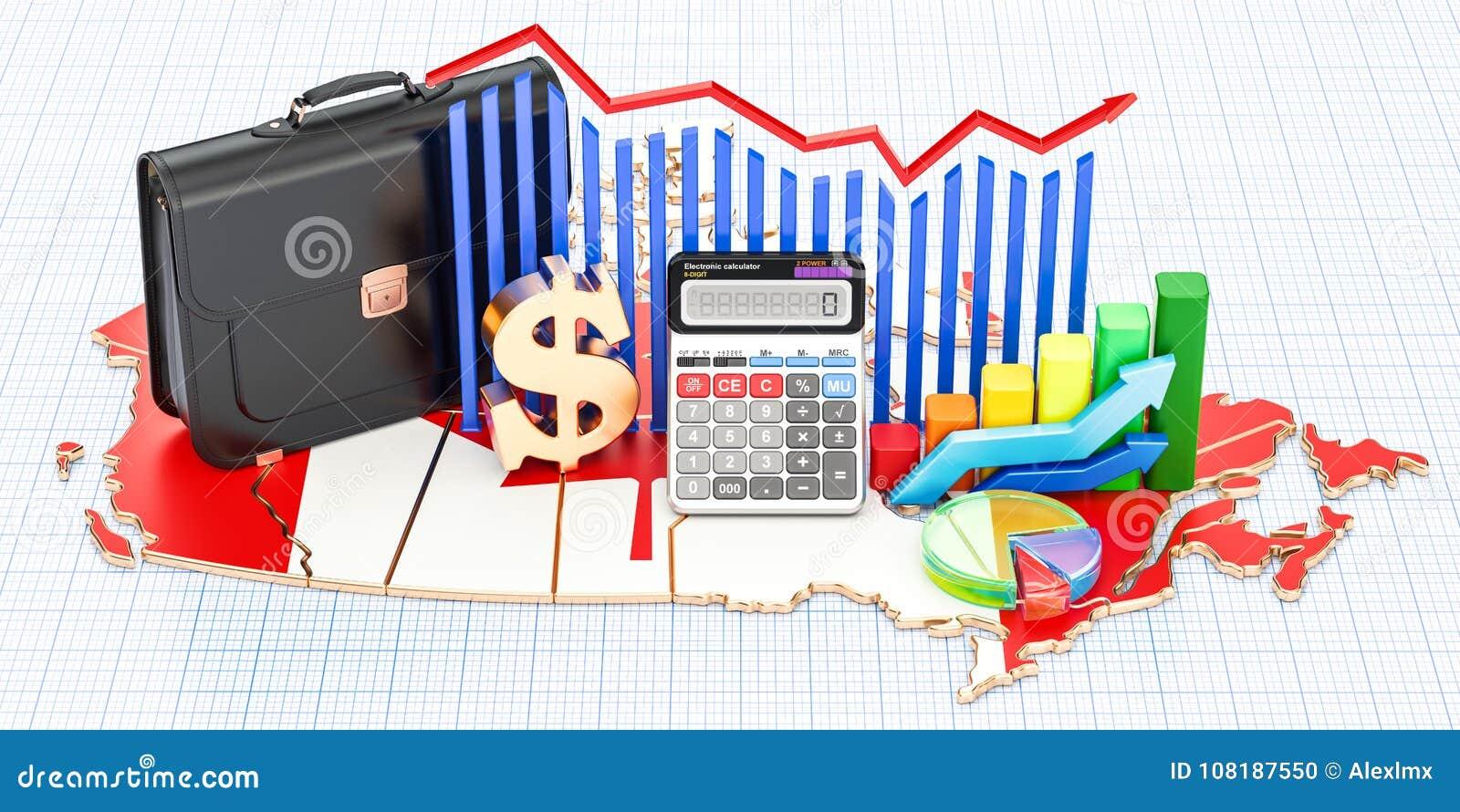 Affär, kommers och finans i det Kanada begreppet, tolkning 3D