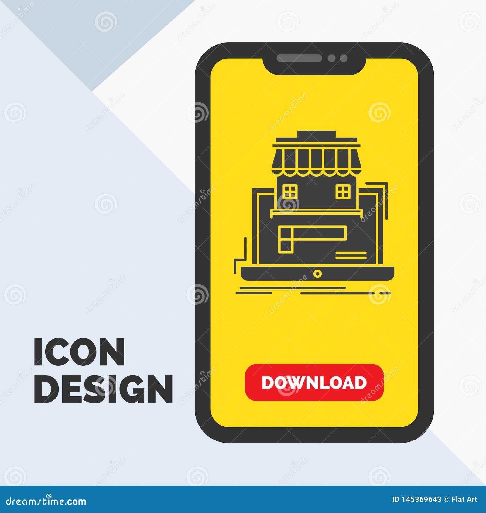 Affär marknadsplats, organisation, data, online-marknadsskårasymbol i mobilen för nedladdningsida Gul bakgrund