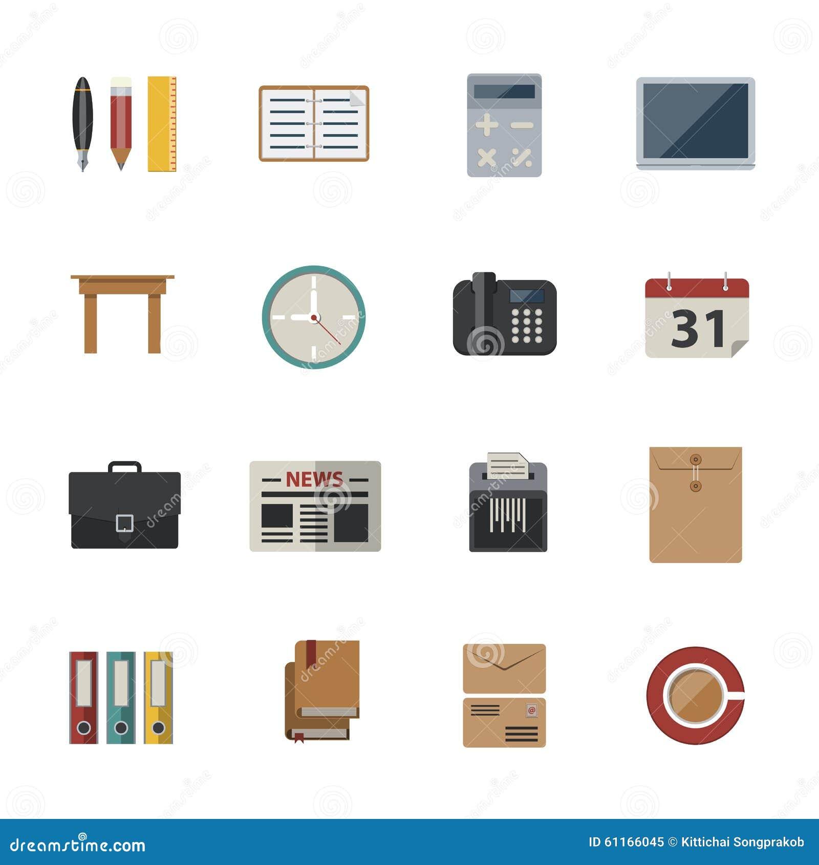 Affär och kontor Plana symboler ställde in för website- och mobilapplikationer