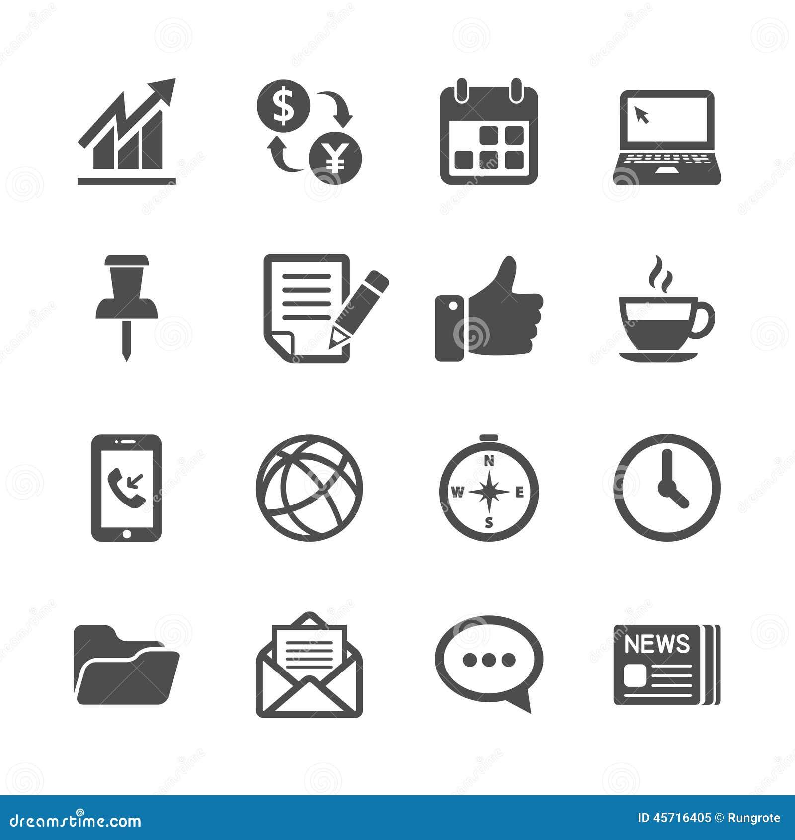 Affär och uppsättning för symbol för kontorsarbete, vektor eps10