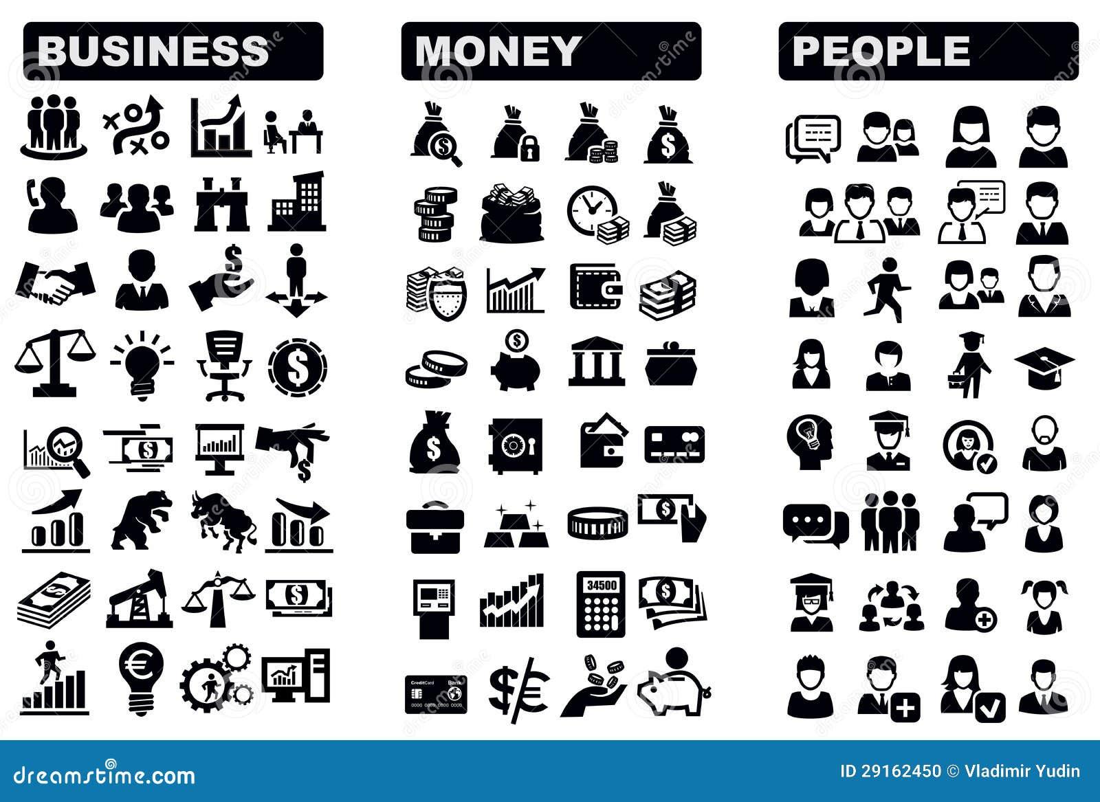 Affär, pengar och folk symbol