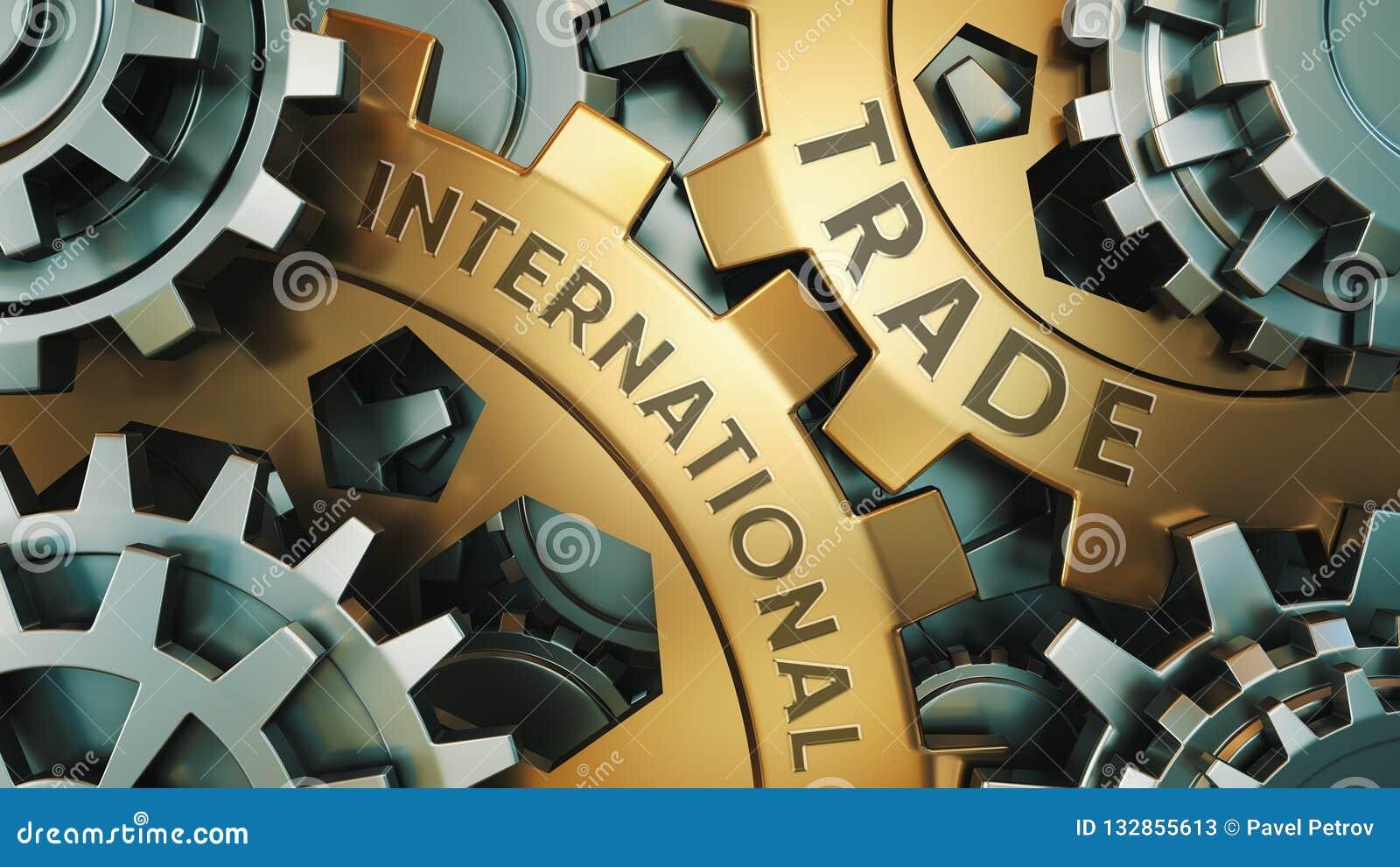 Affär teknologi Internationell handelbegrepp Guld- och för silverkugghjulhjul för bakgrund illustration illustration 3d