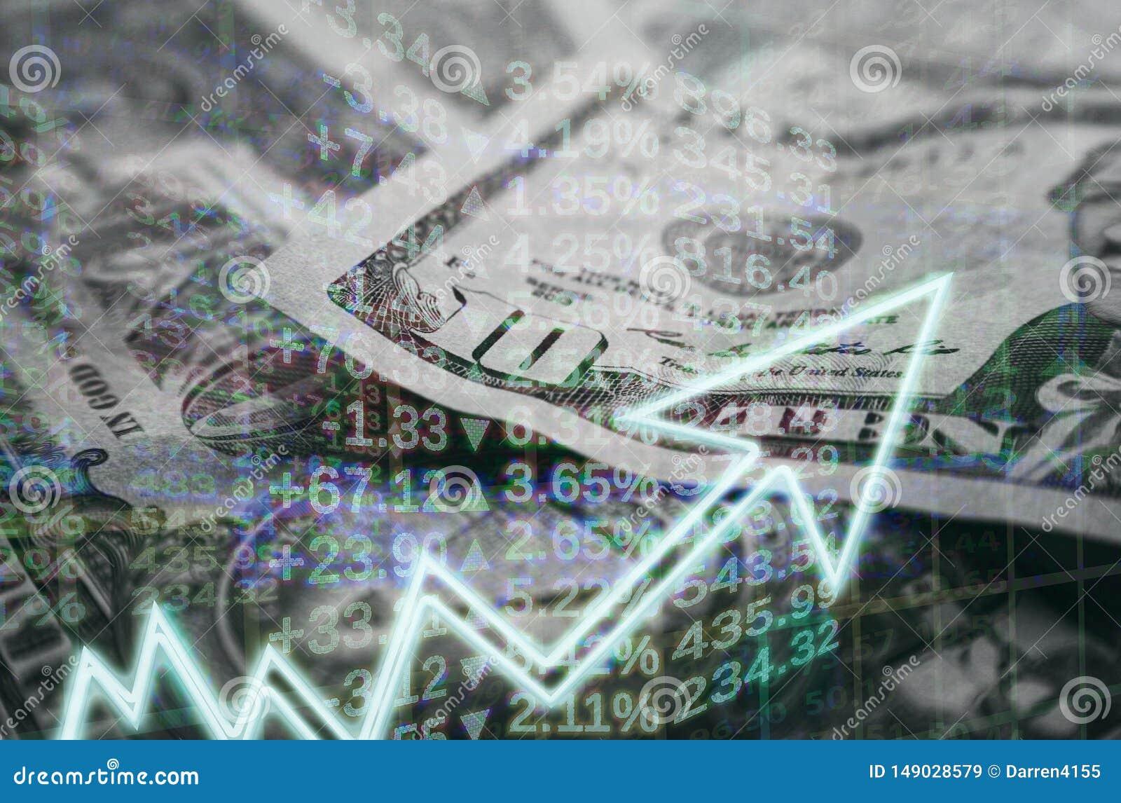 Affären & finans med pengar- & materielgrafen som visar vinst, vinner högkvalitativt