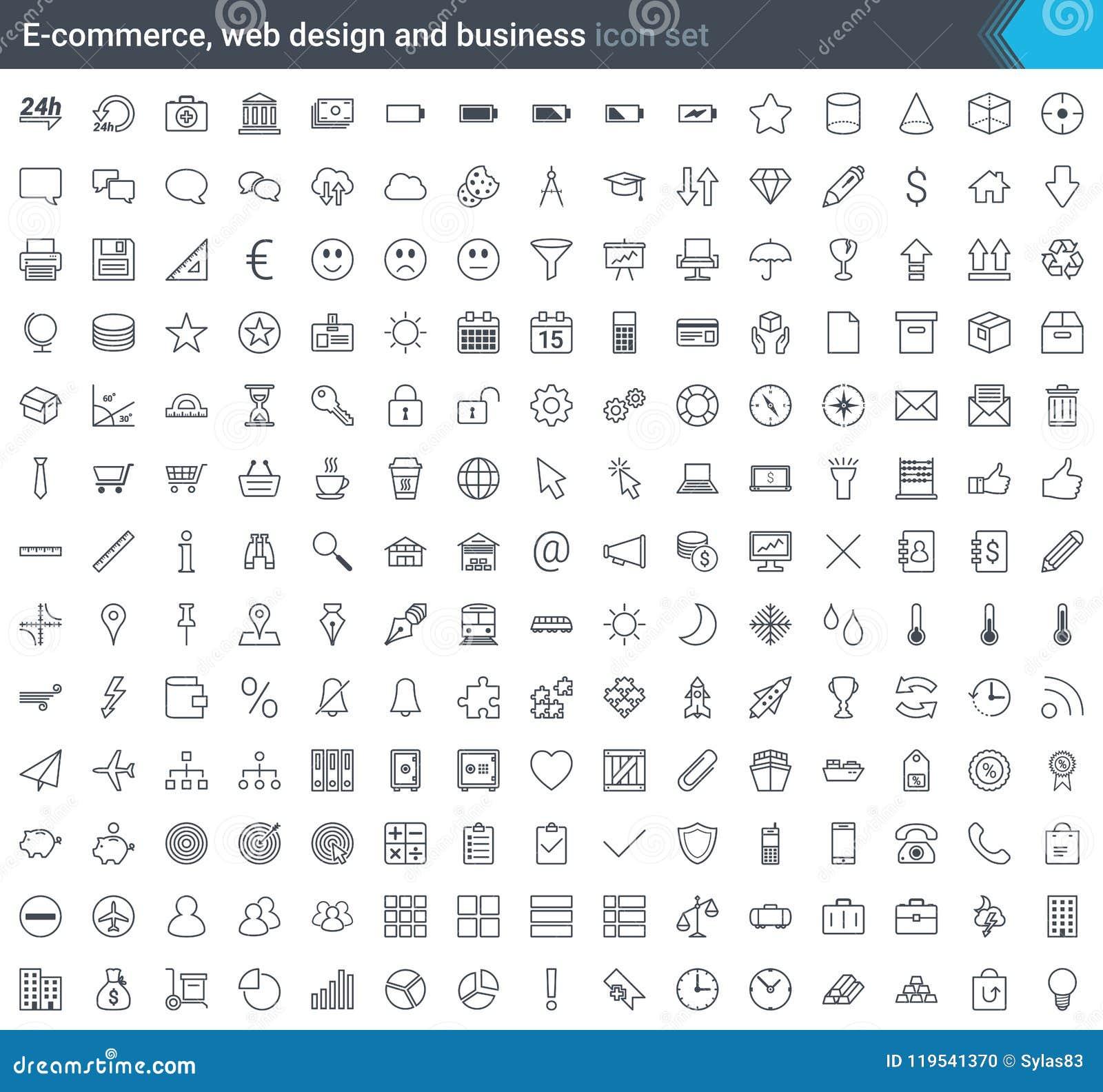 Affärs-, e-kommers, rengöringsduk- och shoppingsymboler ställde in i modern stil isolerat på vit bakgrund Slaglängdsymboler