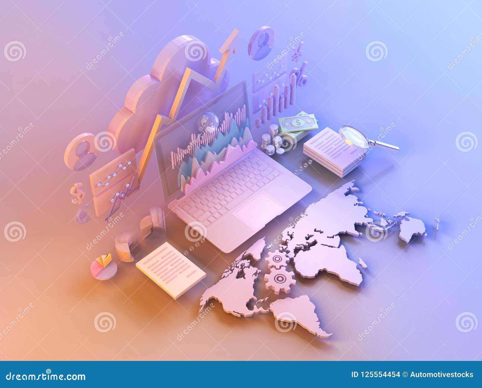 Affärsdata marknadsför beståndsdelar, diagram, grafer, diagram med världskartan