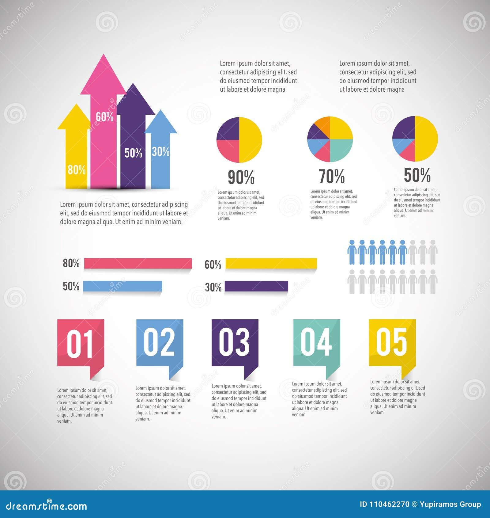 Affärsdiagram med den infographic informationsrapporten