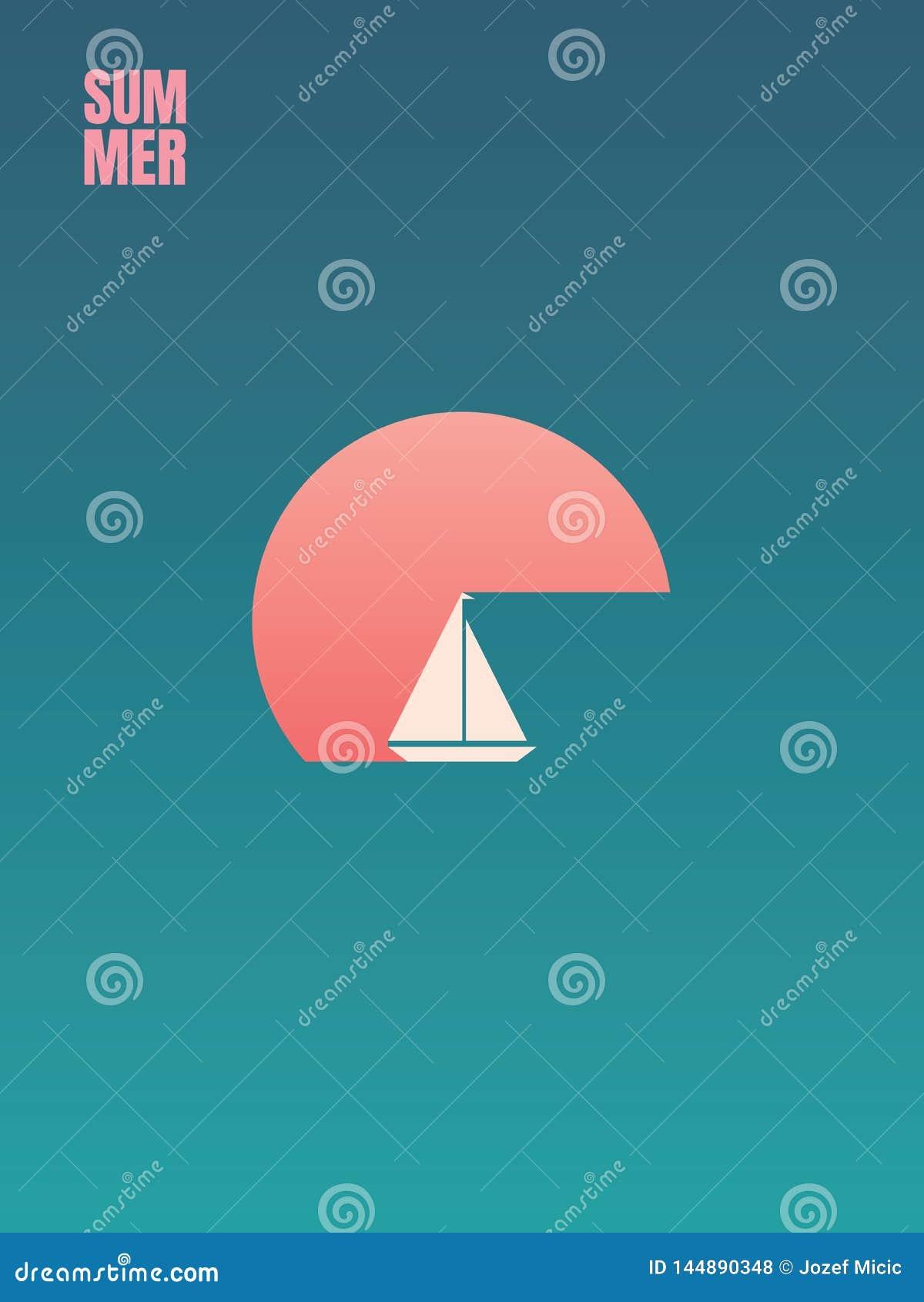 Aff?rsf?retag f?r sommarferie och fritidvektorbegrepp Yacht segelb?t i solnedg?ng Symbolet av kopplar av, kryssning, resan, resa