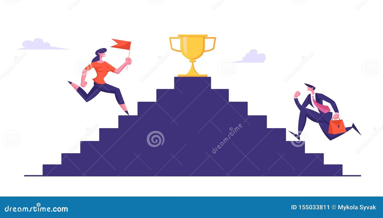 Affärsfolk som överst klättrar trappa med den guld- bägaren Affärsmannen och kvinnan med flaggan tar delen i affär