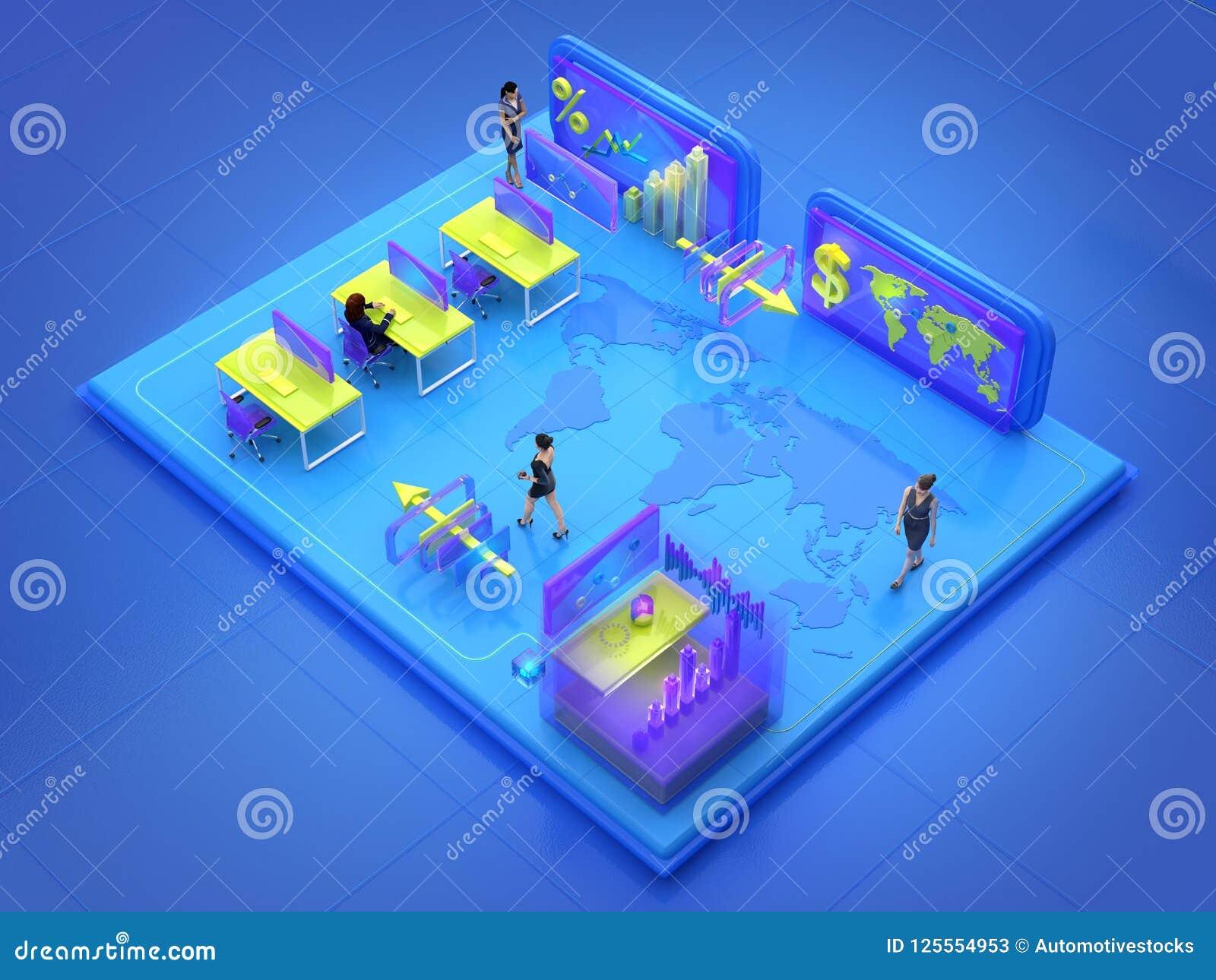 Affärsfolk som arbetar i det isometriska faktiska kontoret