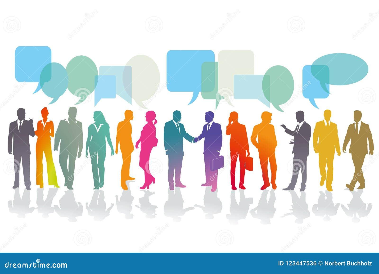 Affärsfolk som har konversationer