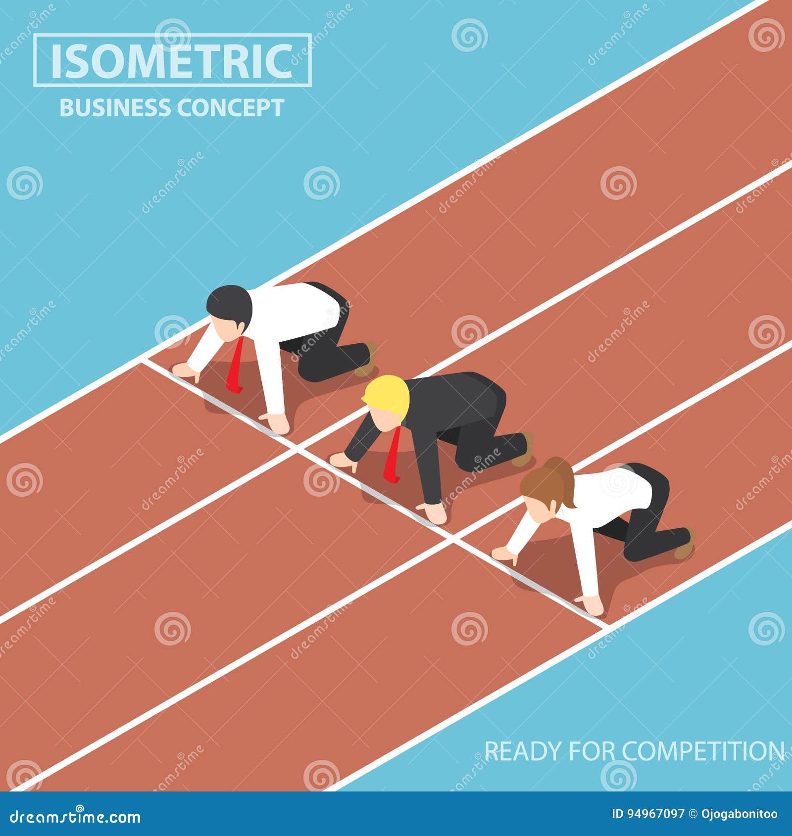 Affärsfolket på den startande linjen av löparbanan och ordnar till för att springa