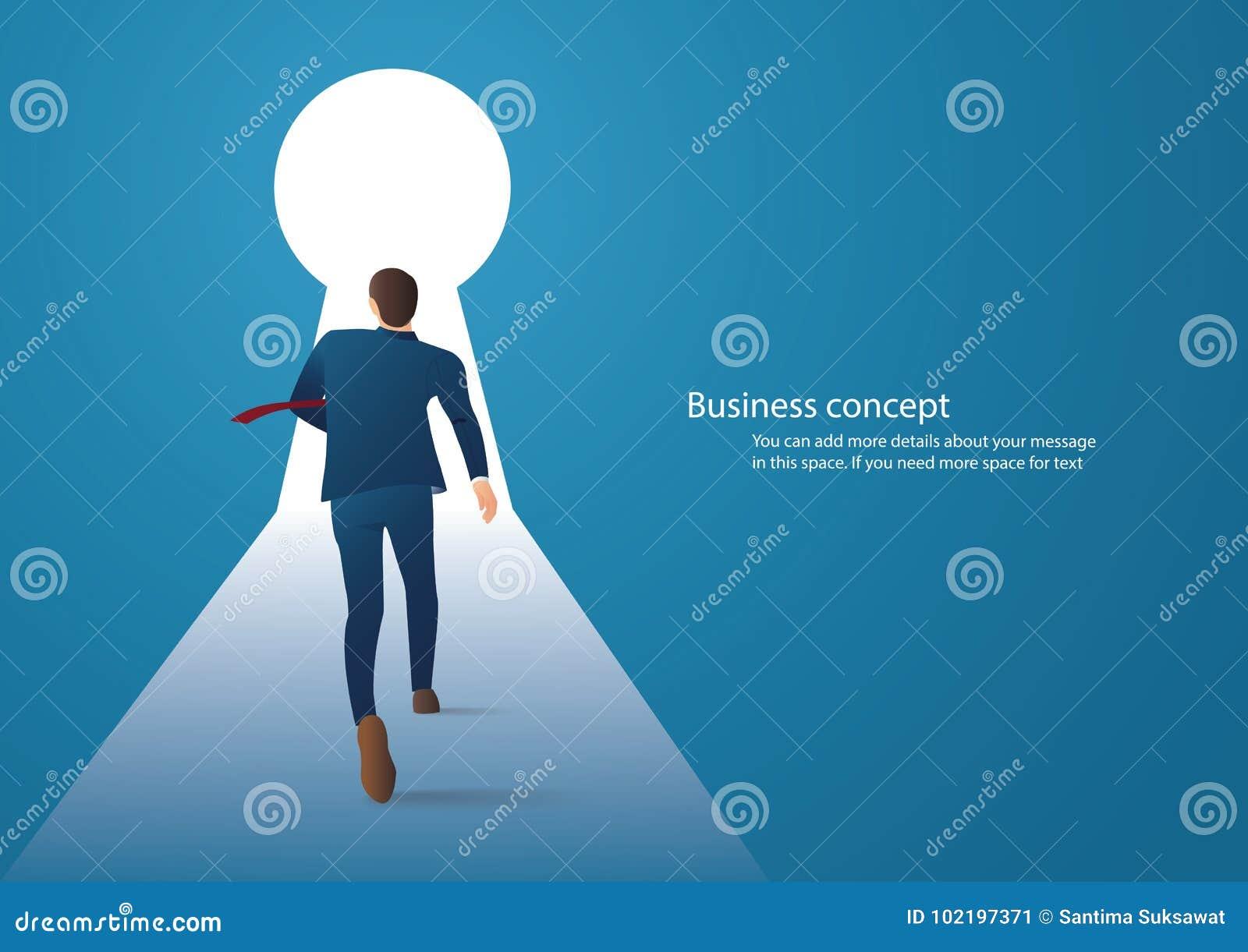 Affärsidéillustration av en affärsmanspring in i nyckelhålvektor