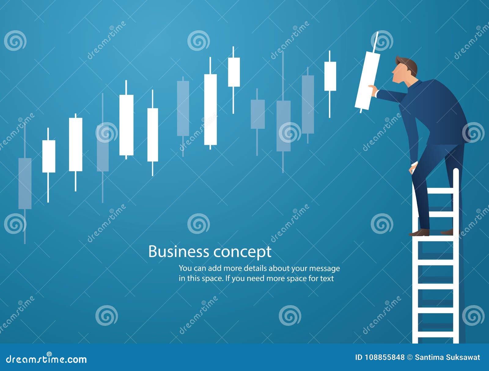 Affärsidévektorillustration av en man på stege med ljusstakediagrambakgrund, begrepp av aktiemarknaden