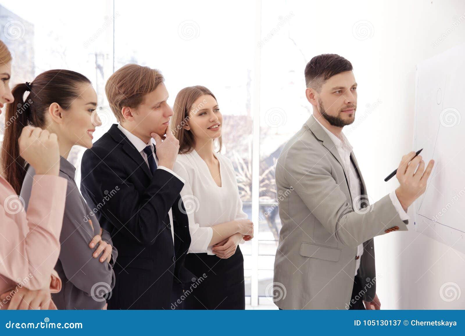 Affärsinstruktör som ger presentation till gruppen