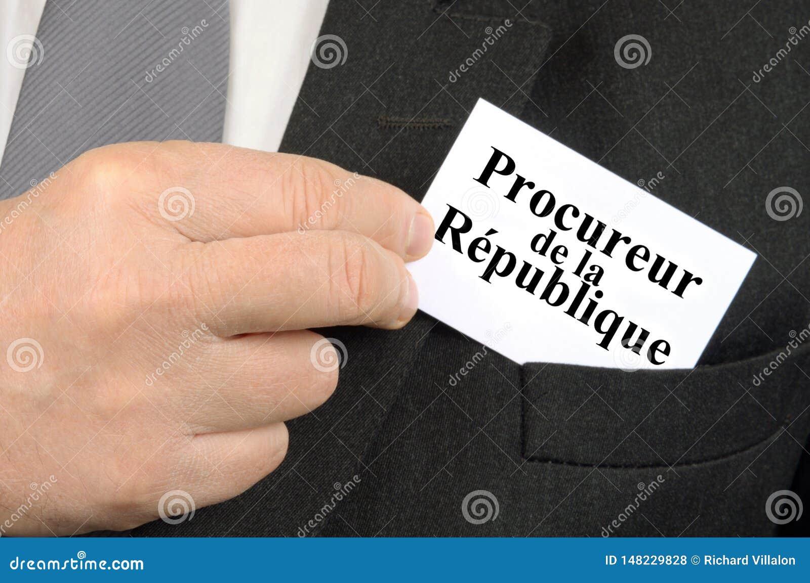 Affärskort av åklagaren som är skriftligt i franskt