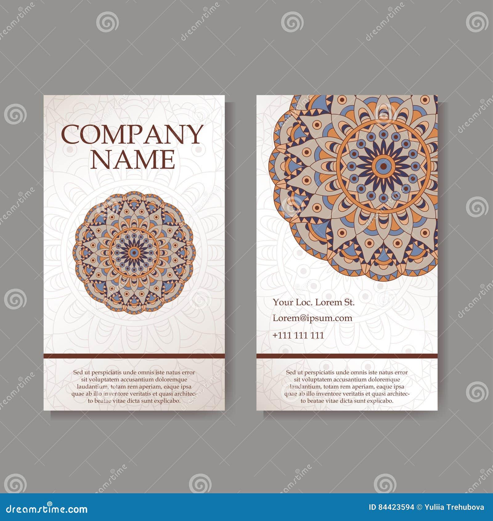 Affärskort mer min portföljset Tappningmodell i retro stil med mandalaen Räcka utdragen islam, arabiskan, indier, snöra åt modell