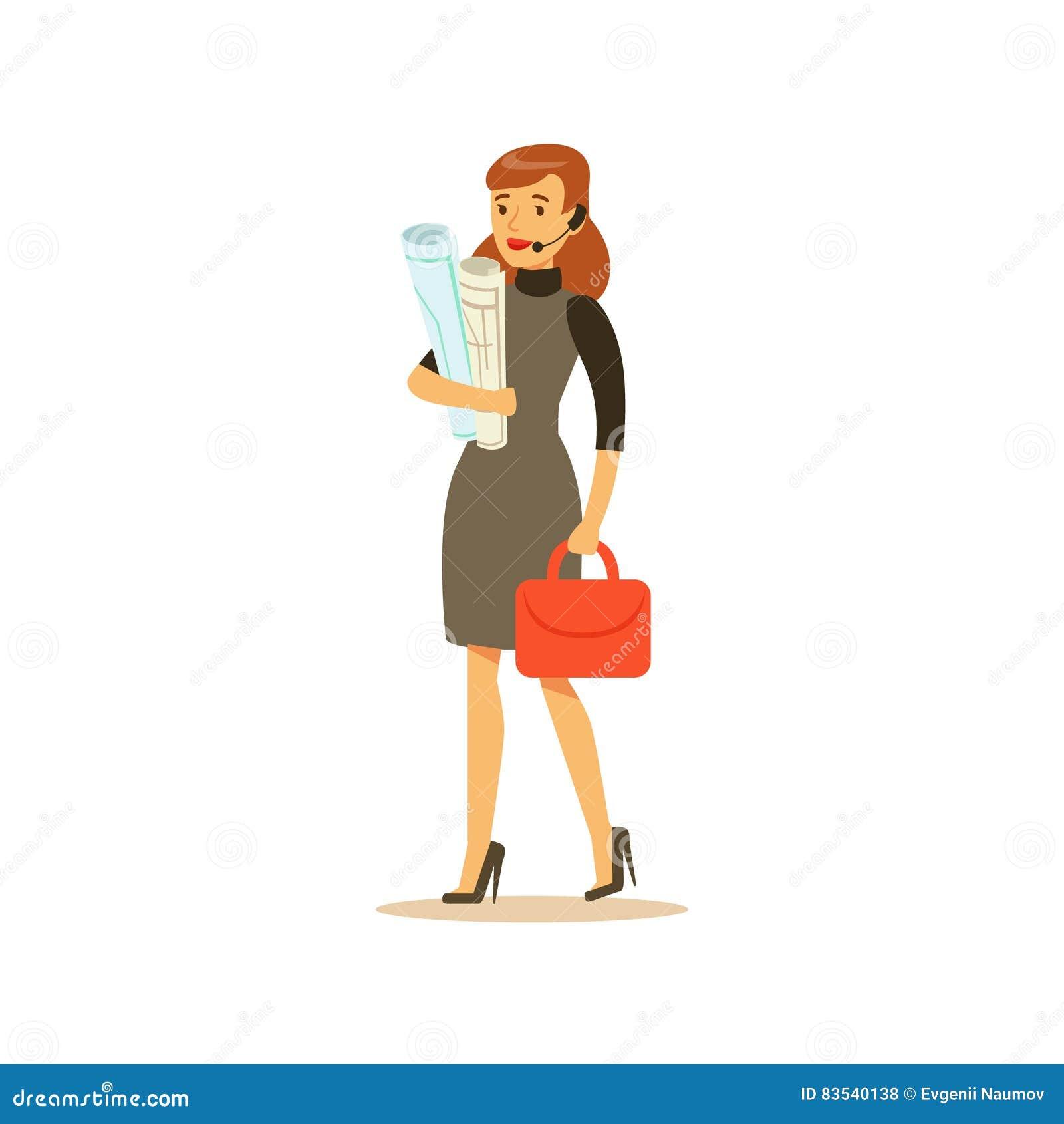 Affärskvinna With Headset, affärskontorsanställd i officiellt bekläda för klänningkod som är upptaget på arbete som ler tecknade